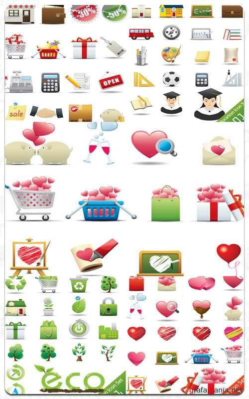 Mix Icons Set - Vector Stock