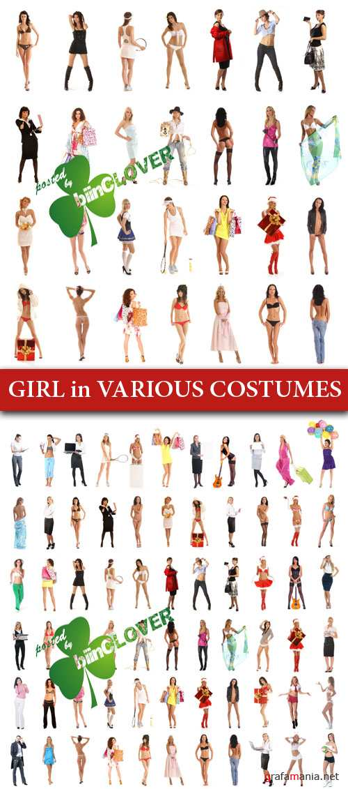 Girl in various costumes