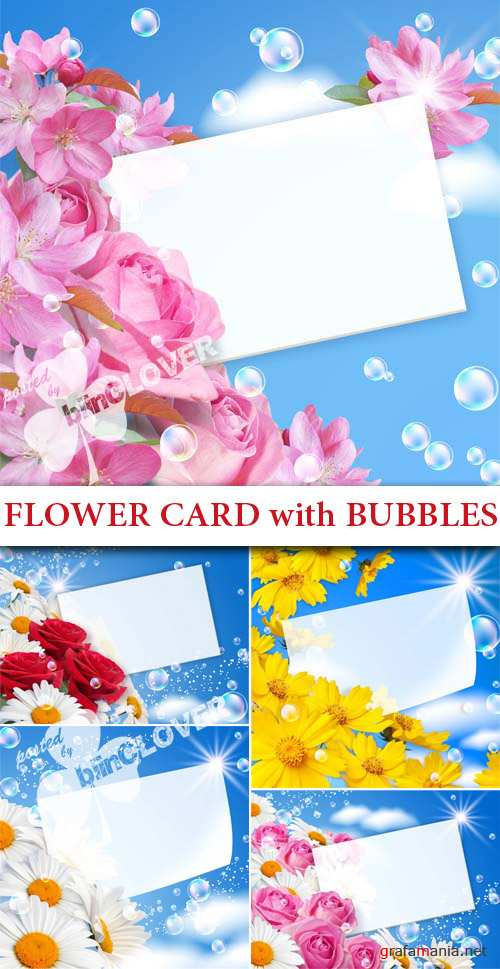 Flower card with bubbles