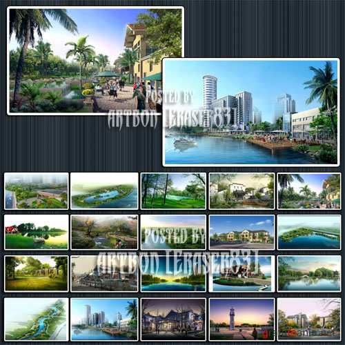 Great Collection of HQ PSD Templates - Big City and Nature