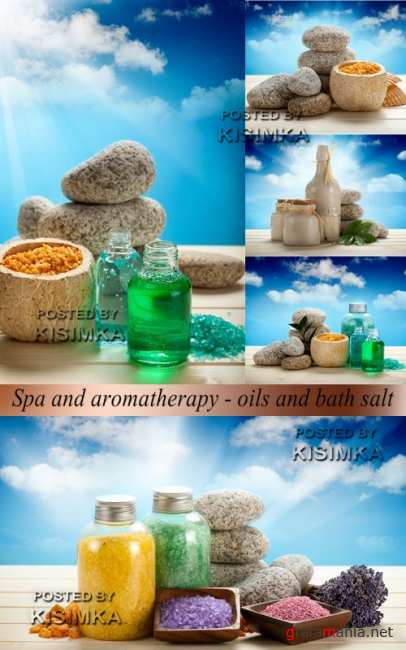Stock Photo: Spa and aromatherapy - oils and bath salt