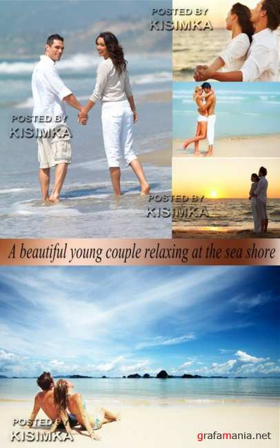 Stock Photo: A beautiful young couple relaxing at the sea shore