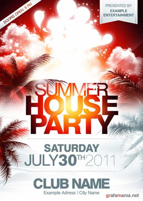 Summer house party orange flyer