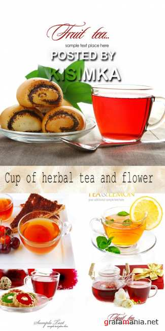 Cup of herbal tea and flower
