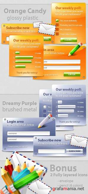 Colored web boxes with 6 color variations
