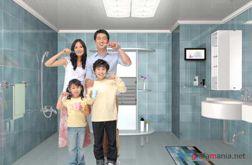 Sources - The Family in a bathroom