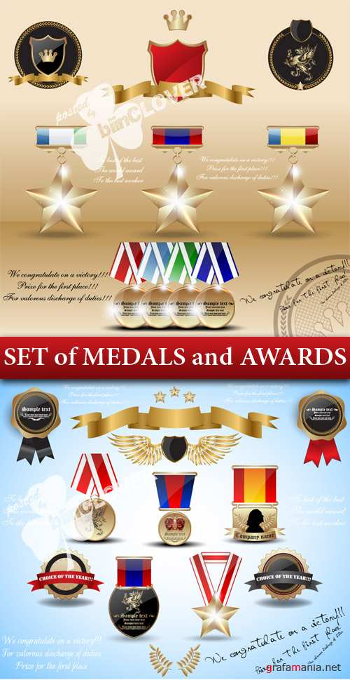 Set of medals and awards