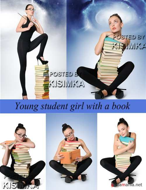 Stock Photo: Young student girl with a book