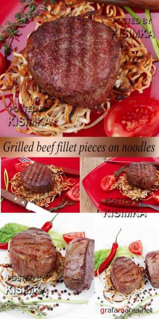 Stock Photo: Grilled beef fillet pieces on noodles
