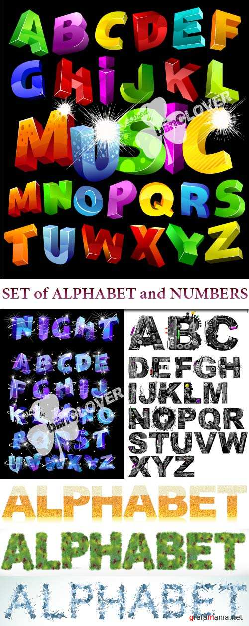 Set of alphabet and numbers