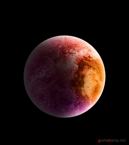 Pink and orange planet psd
