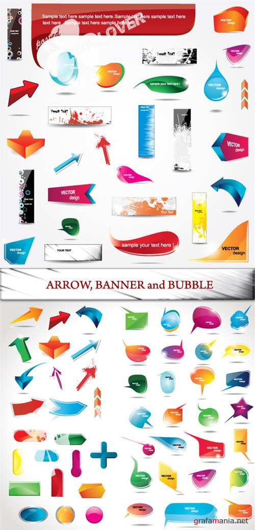 Arrow, banner and bubble
