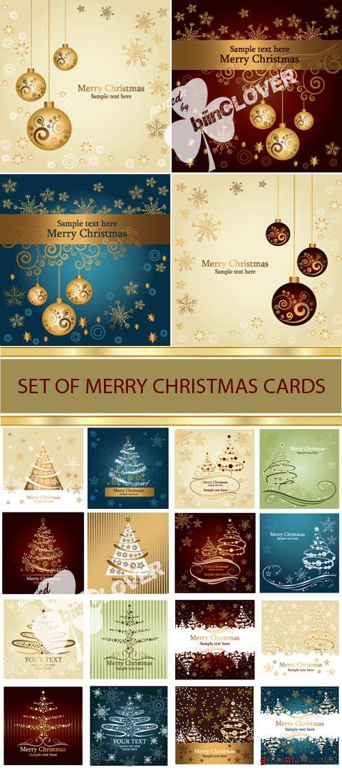 Set of Merry Christmas cards 0007