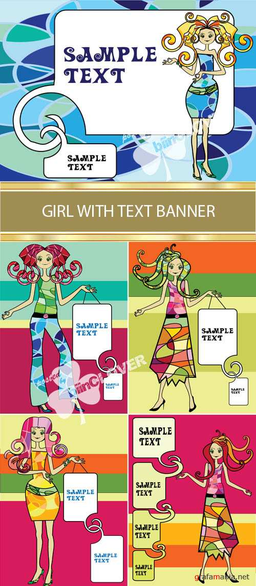 Girl with text banner 0009