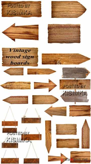 Stock Photo: Vintage wood sign boards