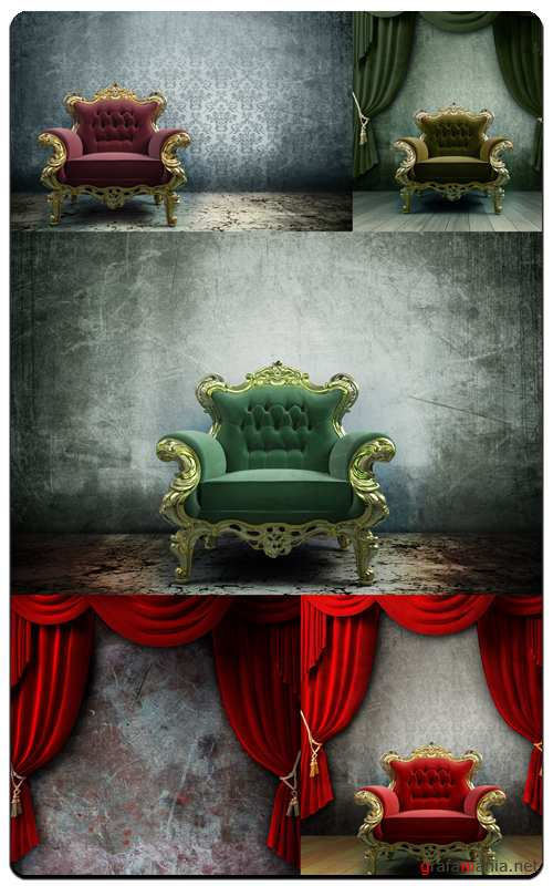 Vintage Chair Curtain - Profesional Photo Stock
