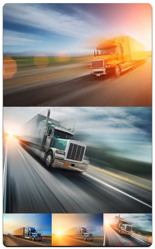 Truck on Freeway - Profesional Photo Stock