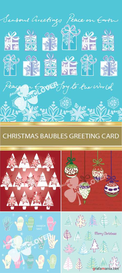 Christmas baubles greeting card 0025