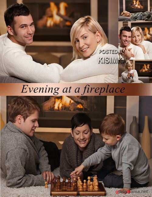 Stock Photo: Evening at a fireplace