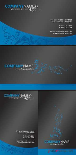Blue Business Cards With Beautiful Ornament