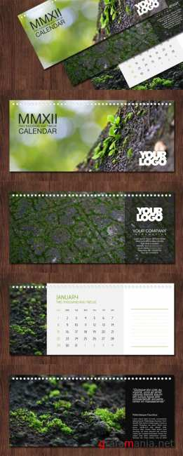 Exclusive Calendar on 2012 Year PSD - Green Leaves