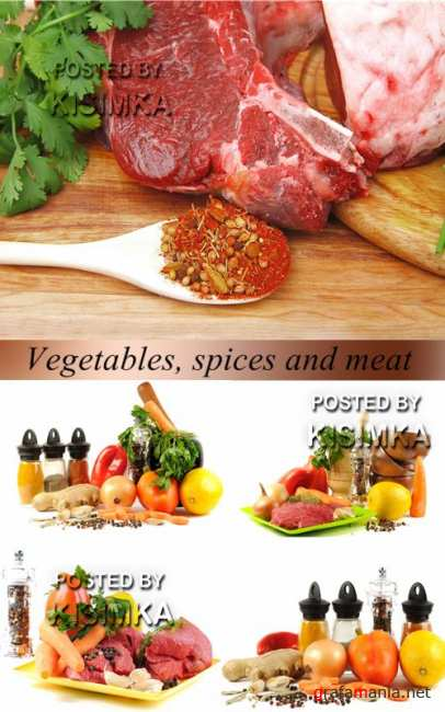 Stock Photo: Vegetables, spices and meat