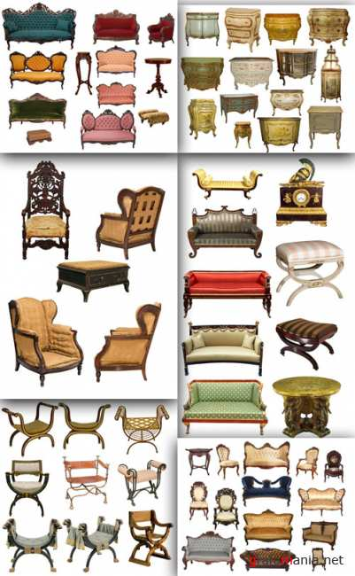 Victorian sofas, french dressers and grunge furniture set