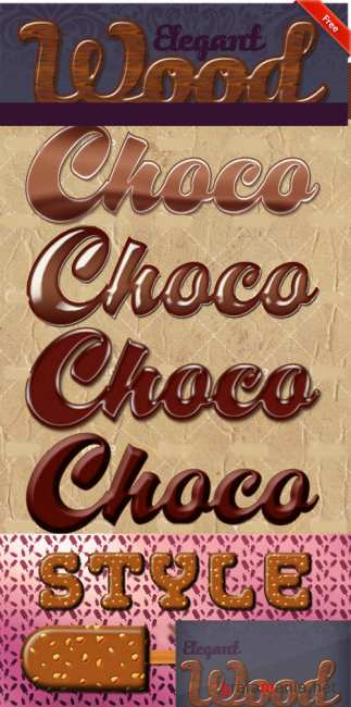 Chocolate and Elegant Wood Text Styles for Photoshop
