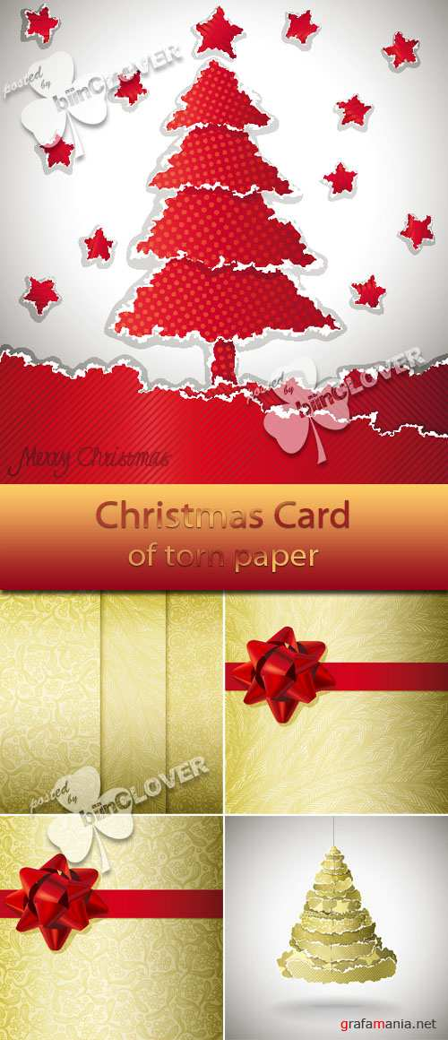 Christmas card of torn paper 0038
