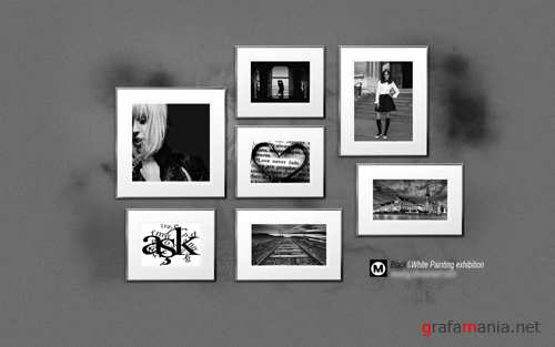 Exhibition Painting Black&White PSD