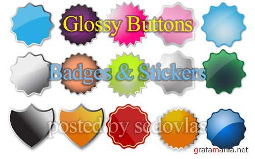Сток Вектор - Glossy Buttons, Badges & Stickers