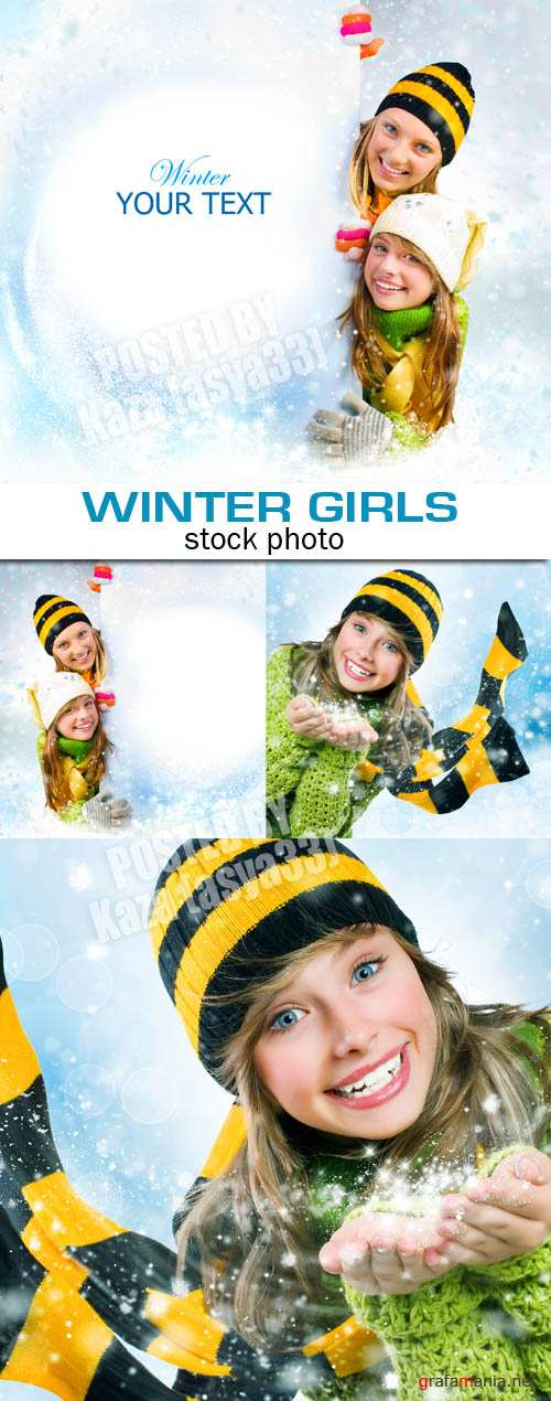 Winter young girls