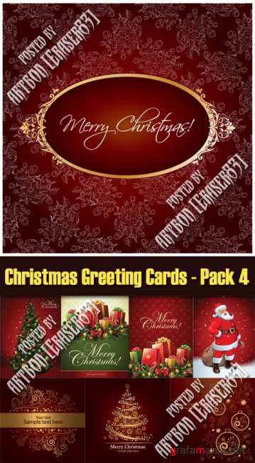 Christmas Greeting Cards Vectors - Pack 4