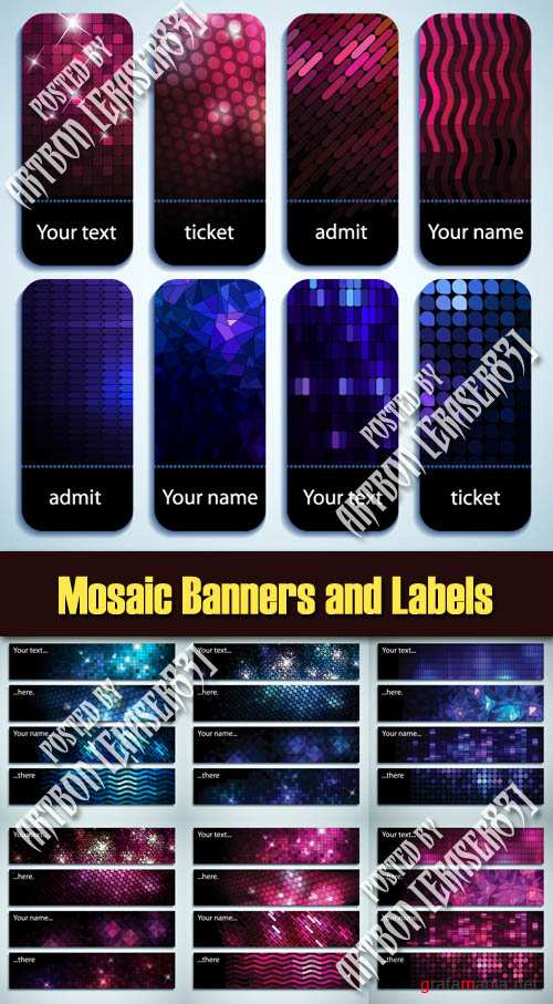 Mosaic Banners and Labels - Vector Pack