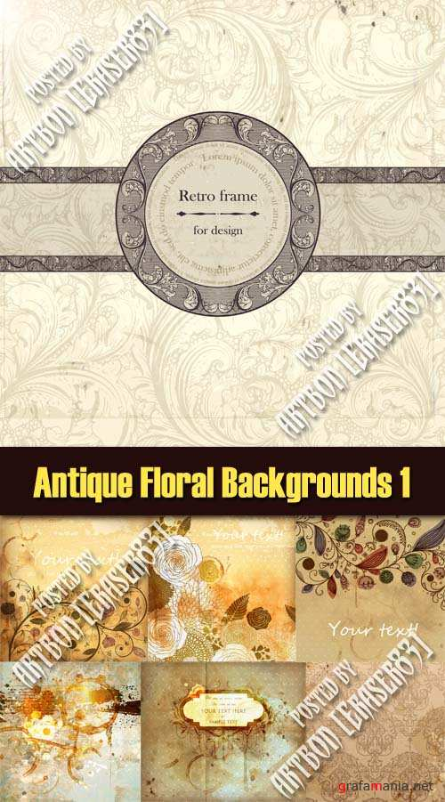 Antique Floral Backgrounds - Vector Pack 1
