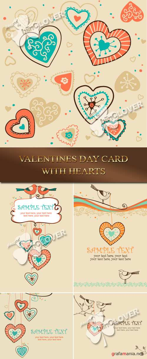 Valentin`s Day card with hearts 0074