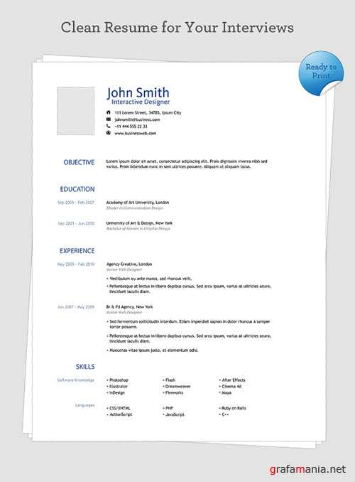 Clean Resume Free PSD Template