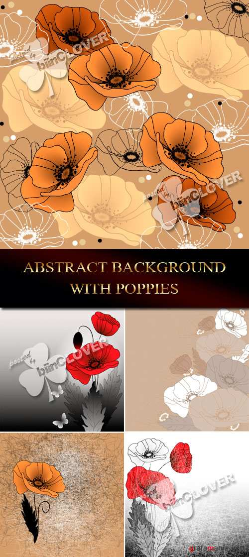 Abstract background with poppies 0077