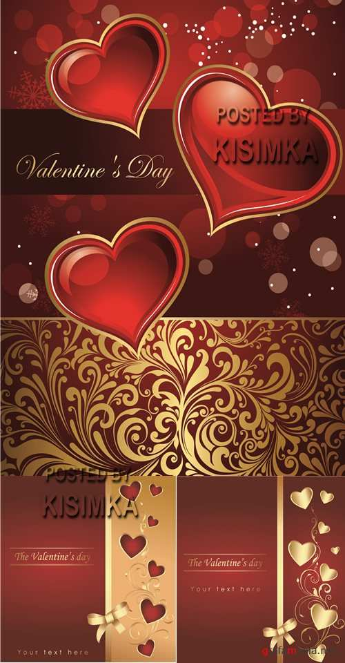Stock: Red background with hearts and gold elements