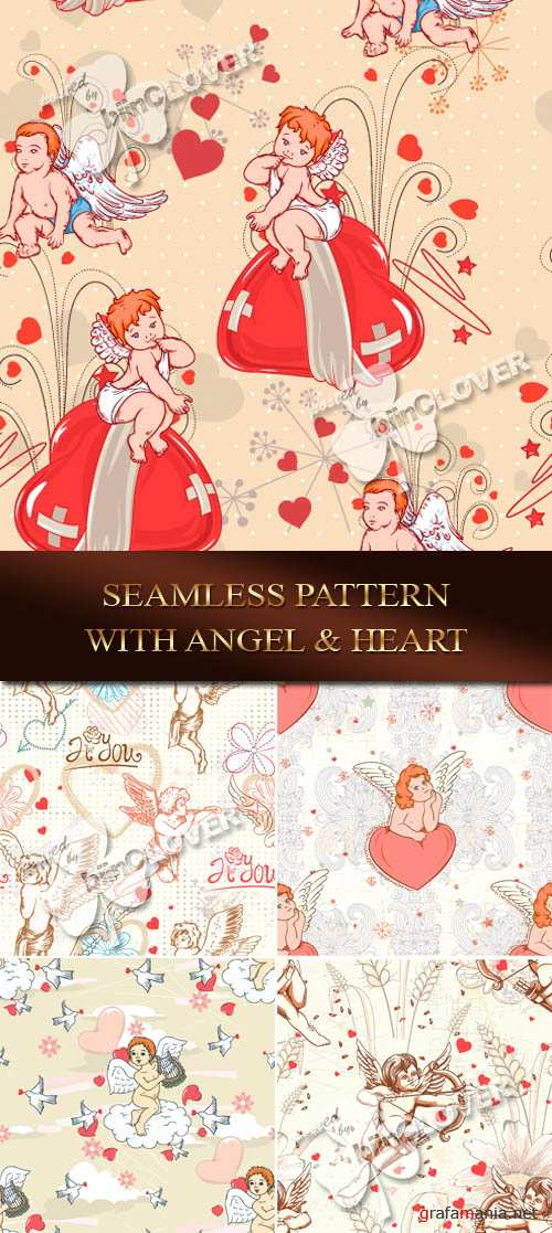 Seamless pattern with angel and heart 0081