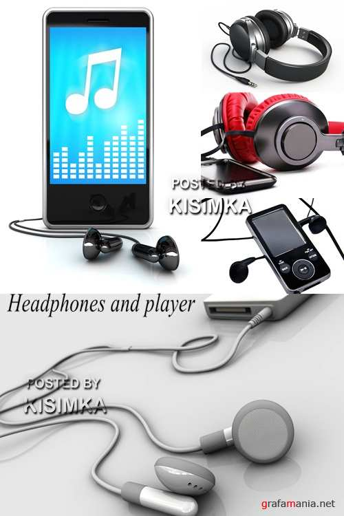 Stock Photo: Headphones and player on a white background