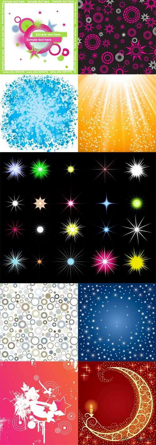 Starry Backgrounds in Vector