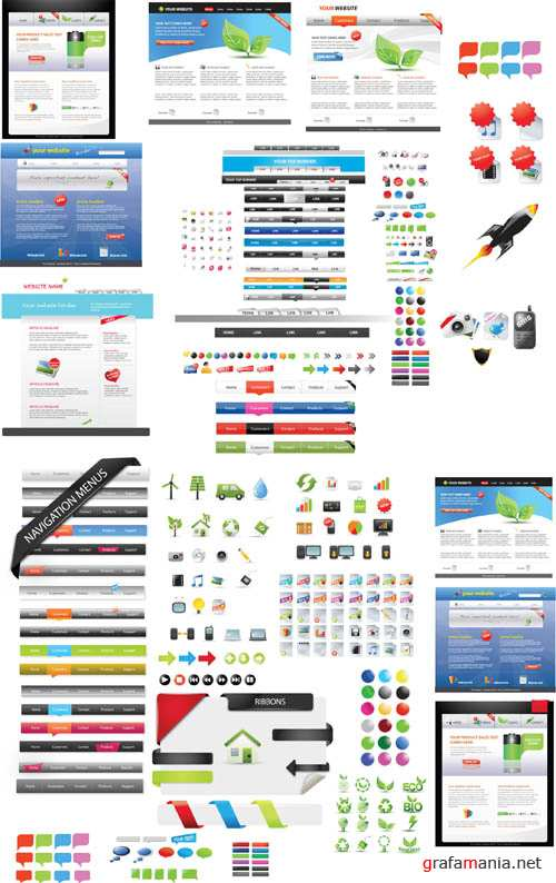 Big Collection of Vector Elements for Website