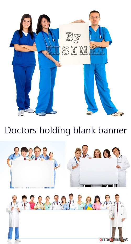 Stock Photo: Doctors holding blank banner