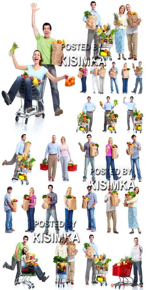 Stock Photo: Man with a shopping cart