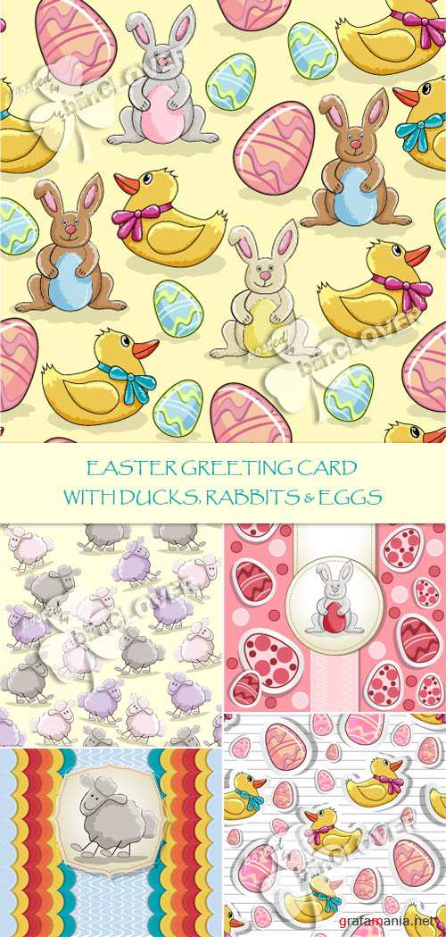 Easter greeting card with ducks, rabbit and eggs 0115
