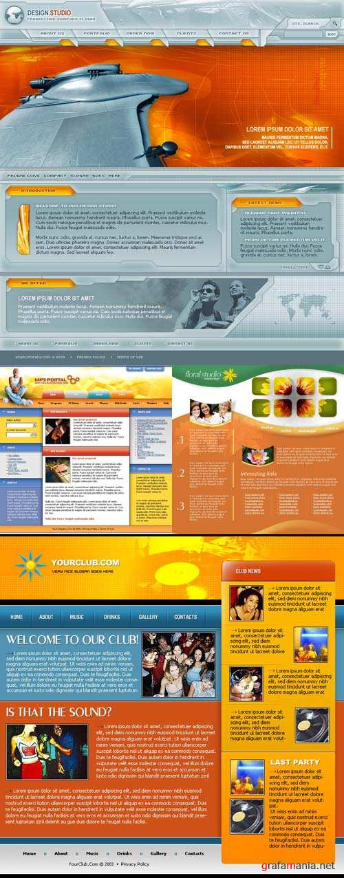 Orange Web 4 Template pack for Photoshop