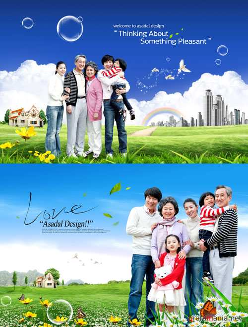 A large happy family psd for Photoshop