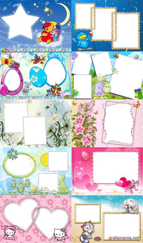 Collection of Spring Photo frames  pack 2 for Photoshop