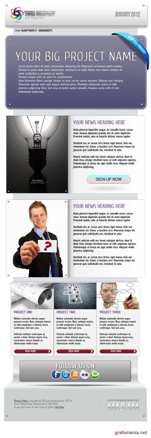 E-Newsletter Template PSD